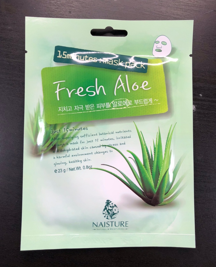 Naisture, sheet masks, 15 minutes, Fresh Aloe, Mask Box