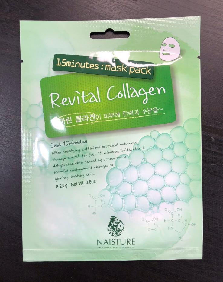 Naisture, sheet masks, 15 minutes, mask pack, Revital Collagen, Mask Box