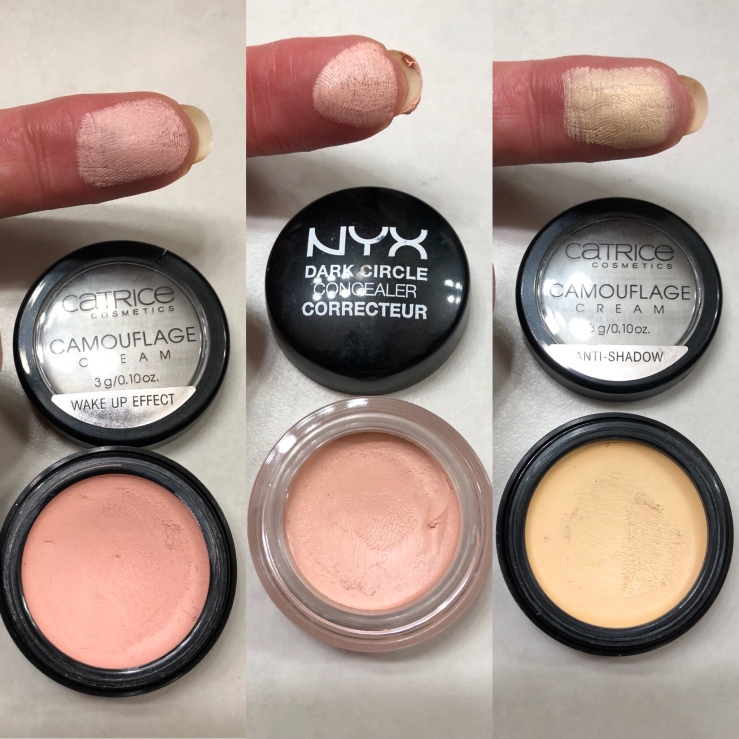 Wrinkles & War Paint, under eye, dark circles, concealer, how to, over 40, eye bags, color corrector, Catrice, Nyx, Wake-Up Effect, Anti-Shadow, Dark Circle Concealer