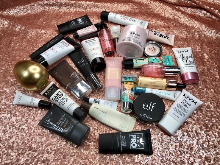 WrinklesNWarPaint.com, wrinkles, war paint, primers, pile of primers, makeup primer, face primer, makeup, beauty, face products