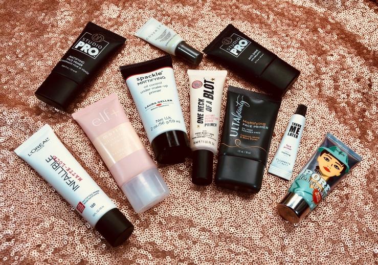 WrinklesNWarPaint.com, wrinkles, war paint, primers, pile of primers, makeup primer, face primer, makeup, beauty, face products, mattifying primer, matte primer