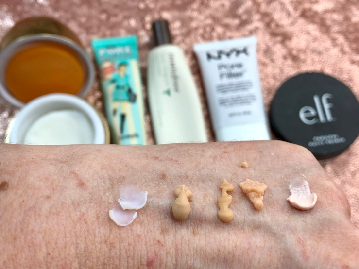WrinklesNWarPaint.com, wrinkles, war paint, primers, pile of primers, makeup primer, face primer, makeup, beauty, face products, Pore filler, Pore filling primer